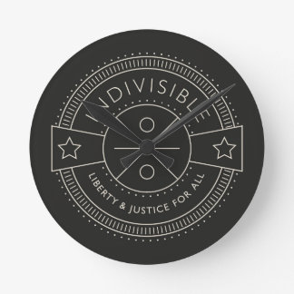 Indivisible, with liberty and justice for all. round clock