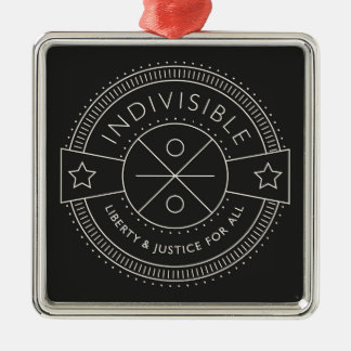 Indivisible, with liberty and justice for all. Silver-Colored square decoration