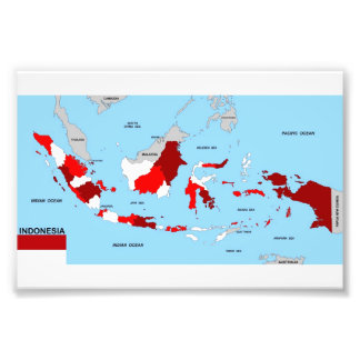 indonesia country political map flag photo