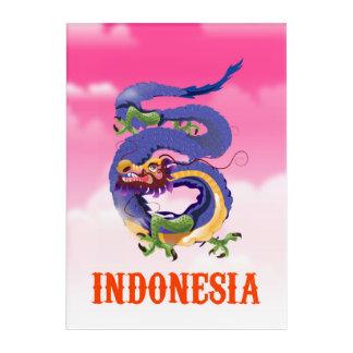 Indonesia Dragon retro travel poster Acrylic Wall Art