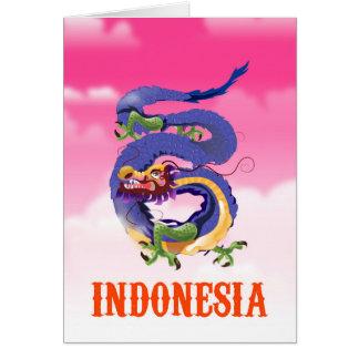 Indonesia Dragon retro travel poster Card