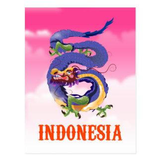 Indonesia Dragon retro travel poster Postcard