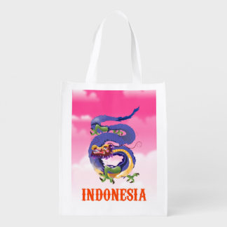 Indonesia Dragon retro travel poster Reusable Grocery Bag