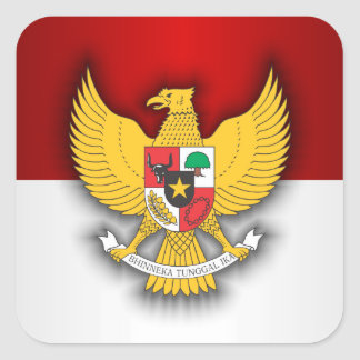 Indonesia Flag and Emblem Square Sticker