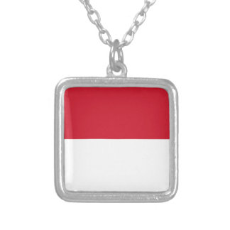 Indonesia Flag Silver Plated Necklace