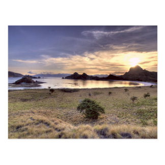 Indonesia, Komodo National Park. Sunset on one Postcard
