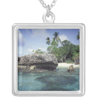 Indonesia. Rock formations along shore Square Pendant Necklace