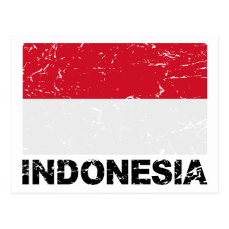 Indonesia Vintage Flag Post Cards