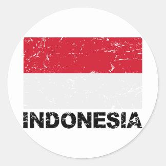 Indonesia Vintage Flag Round Sticker
