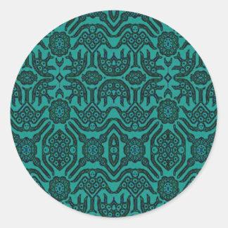 Indonesian Batik Green Classic Round Sticker