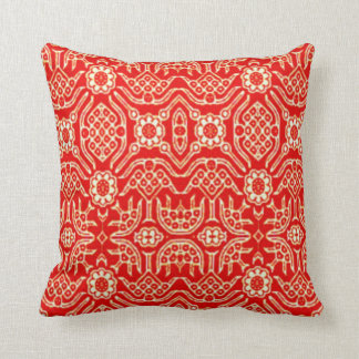 Indonesian Batik Red and White Pillow