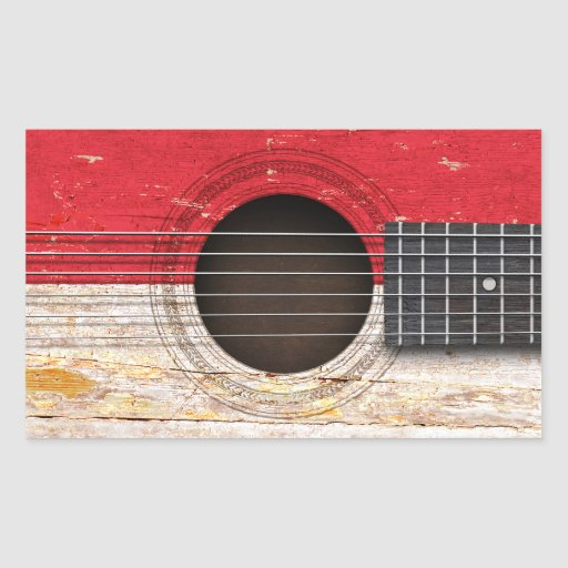 Indonesian Flag on Old Acoustic Guitar Sticker