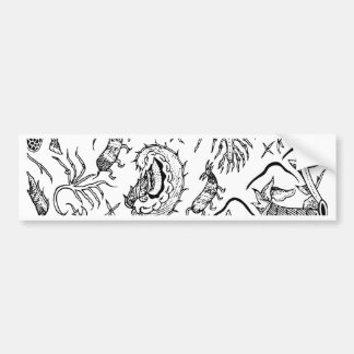 Indonesian Insects & Plants Textile Pattern Bumper Sticker