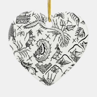 Indonesian Insects & Plants Textile Pattern Ceramic Heart Decoration
