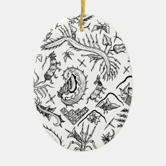 Indonesian Insects & Plants Textile Pattern Ceramic Oval Decoration