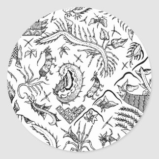 Indonesian Insects & Plants Textile Pattern Classic Round Sticker