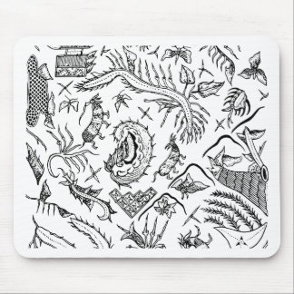 Indonesian Insects & Plants Textile Pattern Mouse Pad