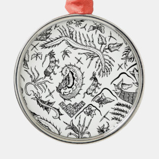 Indonesian Insects & Plants Textile Pattern Silver-Colored Round Decoration