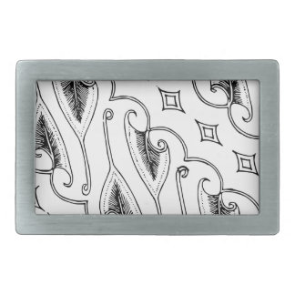 Indonesian Leaf Textile Pattern with Diamonds Rectangular Belt Buckle