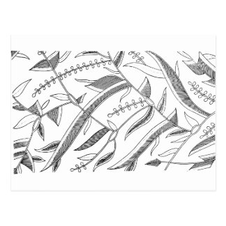 Indonesian Leafy Textile Postcard