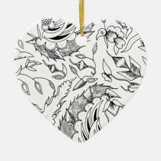 Indonesian Plants and Animals Textile Ceramic Heart Decoration