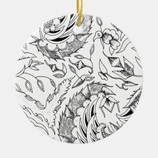Indonesian Plants and Animals Textile Round Ceramic Decoration