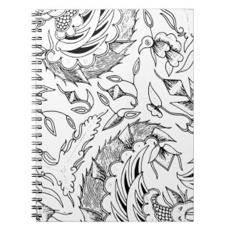 Indonesian Plants and Animals Textile Spiral Notebook