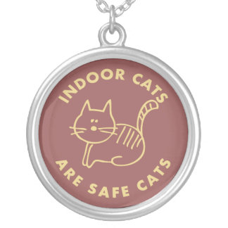 Indoor Cats Are Safe Cats Silver Plated Necklace