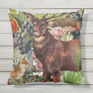Indoor/Outdoor Fox+Stag Throw Pillow/Customizable Outdoor Cushion