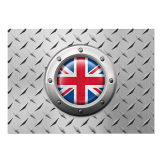 Industrial British Flag with Steel Graphic Announcements