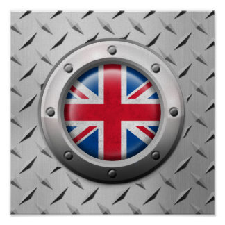 Industrial British Flag with Steel Graphic Poster