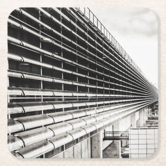 Industrial Building Black and White Paper Coaster