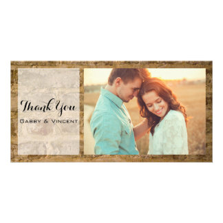 Industrial Chic Bricks Wedding Thank You Photo Personalised Photo Card
