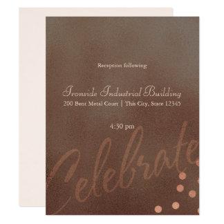 Industrial Chic Bronze Wedding Reception Card
