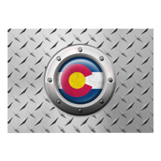 Industrial Colorado Flag with Steel Graphic Custom Announcement