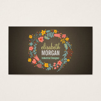 Industrial Designer - Burlap Floral Wreath Business Card
