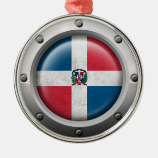 Industrial Dominican Republic Flag Steel Graphic Round Metal Christmas Ornament