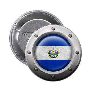 Industrial El Salvador Flag with Steel Graphic Button