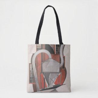 industrial, factory, teapot? grey, orange tote bag