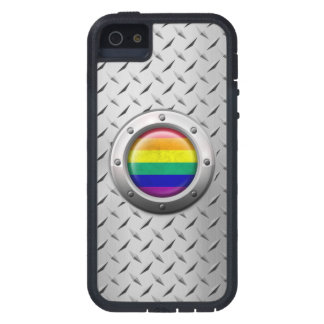 Industrial Gay Pride Rainbow Flag Steel Graphic iPhone 5 Case