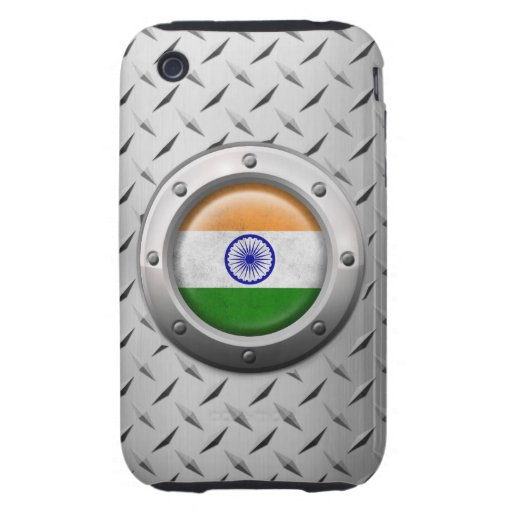 Industrial Indian Flag with Steel Graphic iPhone 3 Tough Case