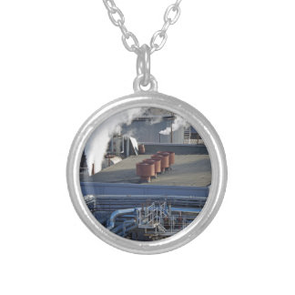 Industrial infrastructure, buildings and pipeline silver plated necklace