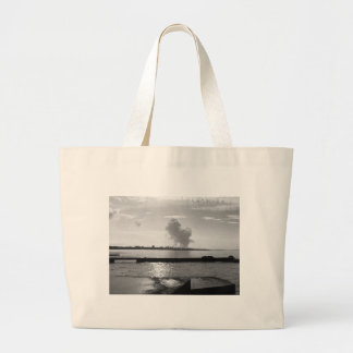 Industrial landscape along the coast large tote bag