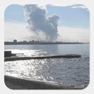 Industrial landscape along the coast square sticker