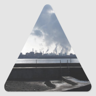 Industrial landscape along the coast triangle sticker