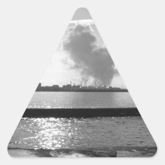 Industrial landscape along the coast triangle sticker
