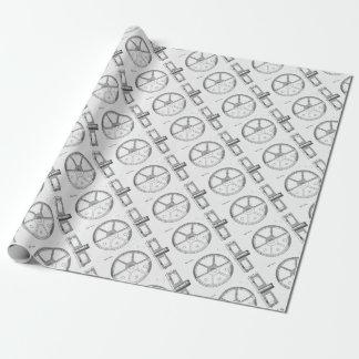 Industrial Mechanical Gears Ephemera Print Wrapping Paper