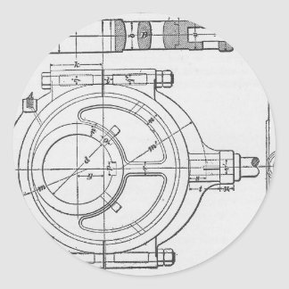 Industrial Mechanic's Gears Graphic Classic Round Sticker