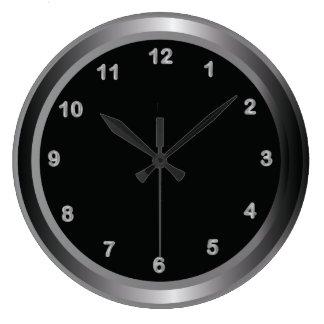 Industrial Metal Steel and Black Print Large Clock