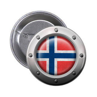 Industrial Norwegian Flag with Steel Graphic Buttons
